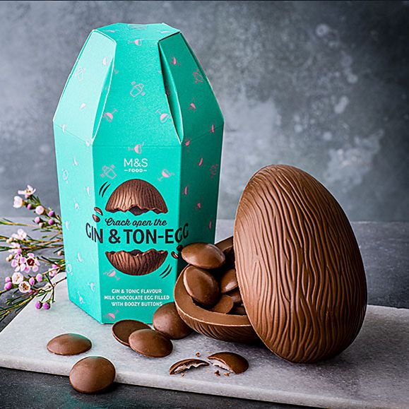 'Gin & ton-egg' chocolate Easter egg with boozy buttons