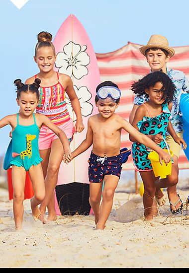 Boys and girls in colourful beachwear