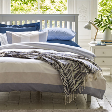 Blue patterned bedding in a bedroom