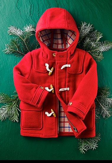 Childrenswear red duffle coat