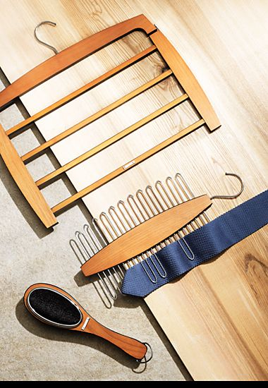 Men's wardrobe accessories – trouser hanger, tie hanger and clothes brush
