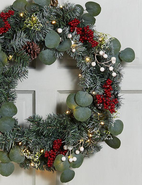 24 Inch Lit Snowy Berry Eucalyptus Wreath M S