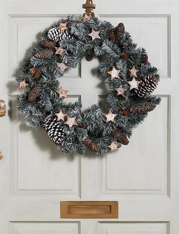 24 Inch Snow And Glitter Stars Wreath M S