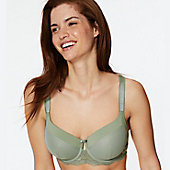 Woman wearing a nude pink bra