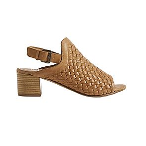 Tan leather weave slingback sandals
