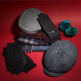 Selection of men's winter hats, gloves and scarves