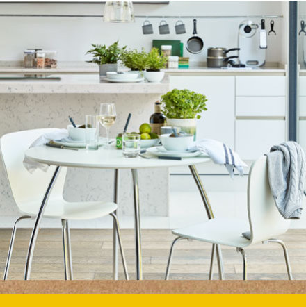 Metal and white dining table and dining chairs