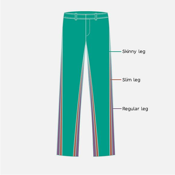 illustrated outline of different trousers shapes for M&S school uniform