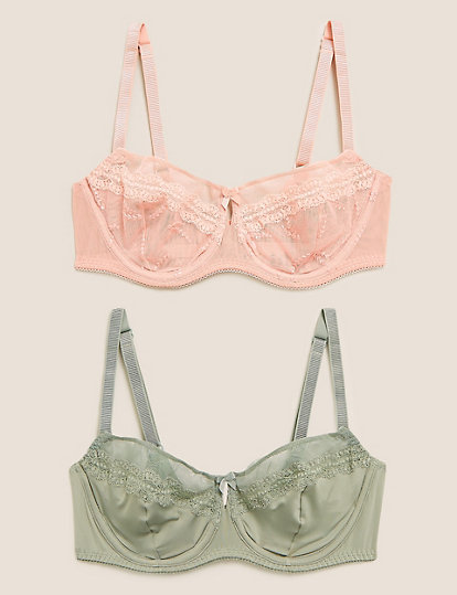 Lovely BNWH M/&S 2pk yellow /& grey embroidered non pad balcony bras 38C 38D 38DD