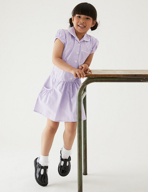 M/&S  2 X SCHOOL UNIFORM DRESS 8//9 YEARS PLUS SIZE RED GINGHAM COTTON