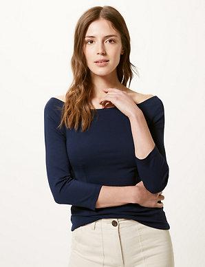 000cb0e7d02b65 3/4 Sleeve Bardot Top | M&S Collection | M&S