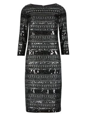 94a8de20ec9b 3/4 Sleeve Sequin Embellished Shift Dress | M&S Collection | M&S