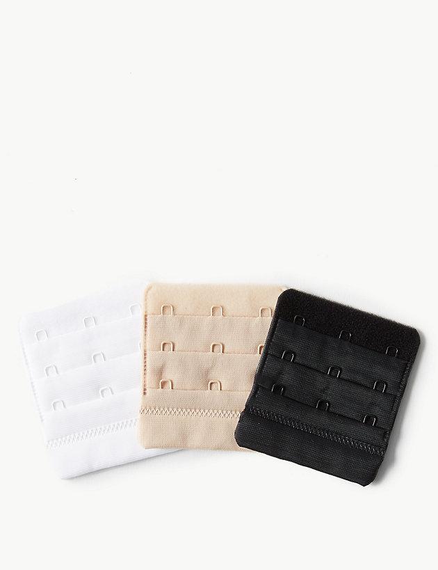 3 Piece pack of black bra extenders 3 hook or 4 hook 2 hook narrow 2 hook wide