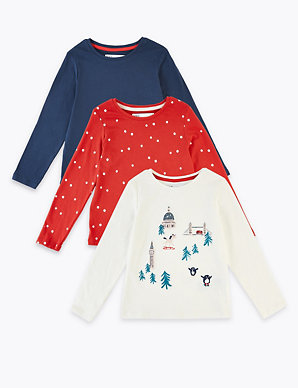 Christmas Tops.3 Pack Christmas Tops 3 Months 7 Years M S