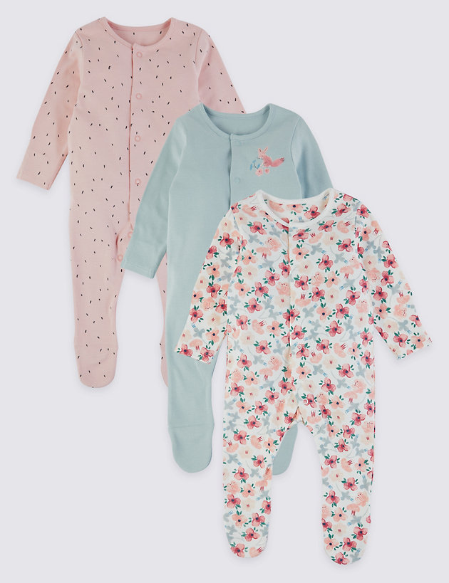 Baby Girl 3 Pack Pink Flower Floral Sleepsuits Age  0 3 6 9 12 18 Month