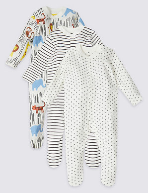 3b9225afeb3a9 3 Pack Organic Cotton Safari Sleepsuits | M&S