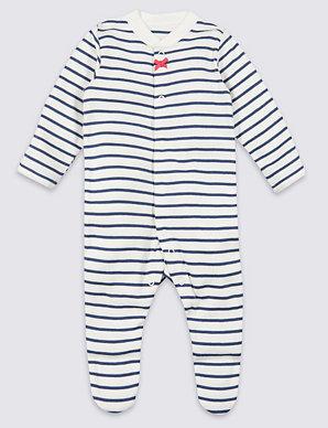 cde39a79cd3e9 3 Pack Organic Cotton Sleepsuits | M&S