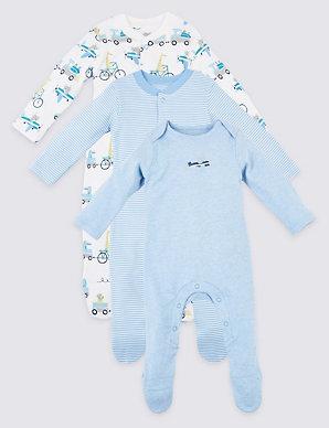 98222f04b5fb7 3 Pack Organic Cotton Transport Sleepsuits | M&S