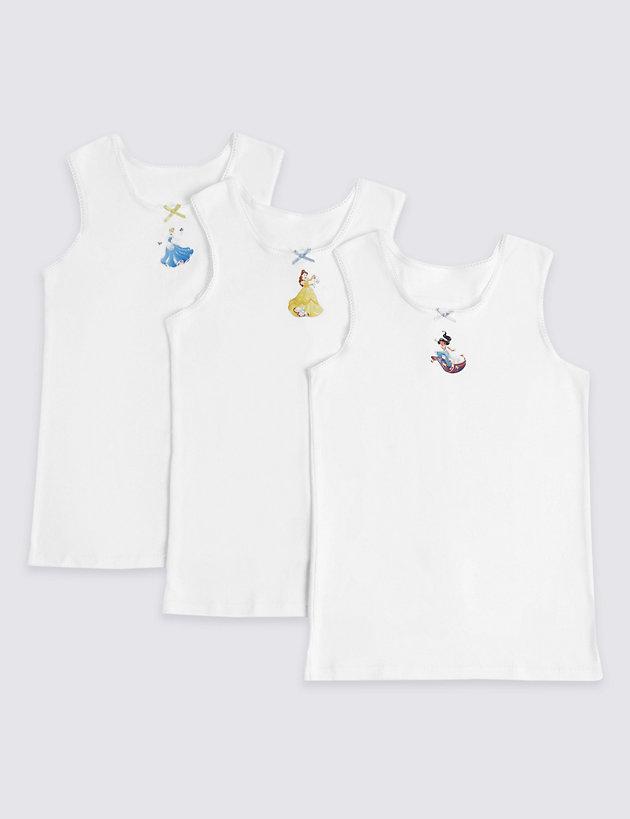 Disney Princess Little Girls 4 Pack White Vests