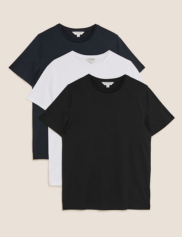 XXL-BNWT M/&S PACK OF 2 SHORT SLEEVE VESTS SLIM FIT-COTTON A BLACK /& A WHITE