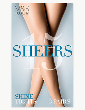 2d2eb5172 3 Pair Pack 15 Denier Sheer Shine Tights