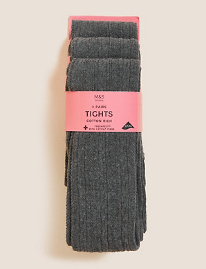 f068ab8d2b0a8e 3 Pairs of Cable Knit Tights (4-14 Years)   M&S