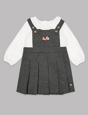 79370095bef 3 Piece Pinafore   Bodysuit with Tights Outfit