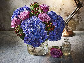 Bunch of hydrangeas and roses