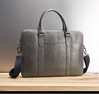 Men's grey leather briefcase