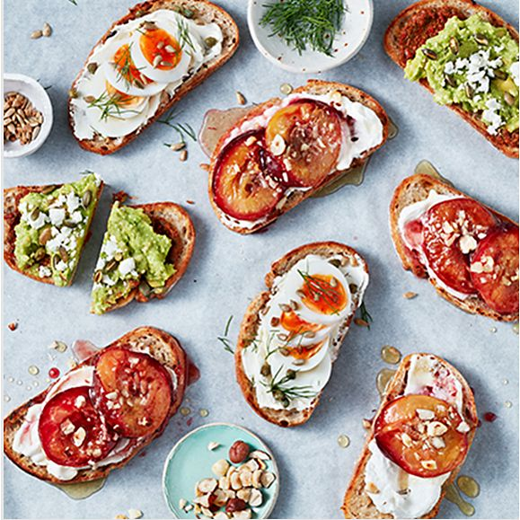 Slices of sourdough with assorted toppings