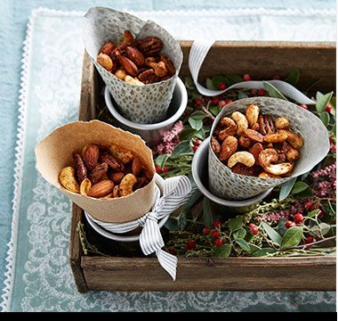 Mixed roasted nuts coated in sugar, salt and paprika