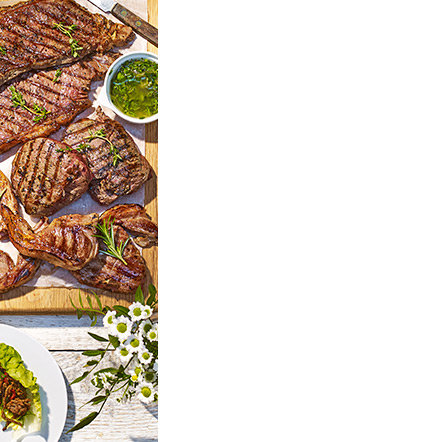 Spread of grilled meat