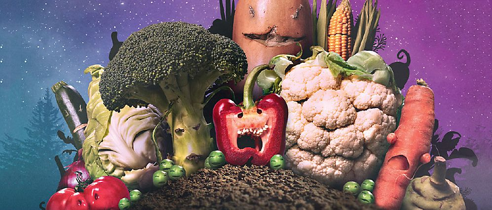 Assorted vegetables with angry faces