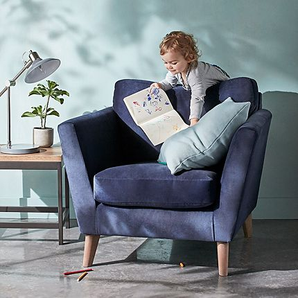 Foxbury armchair in Navy Bellevue Velvet with Aquaclean