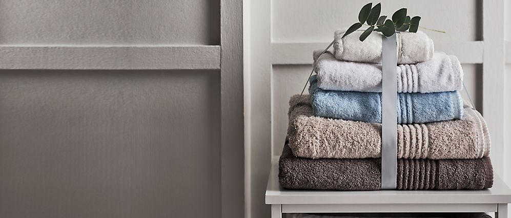 Stack of bath towels and hand towels
