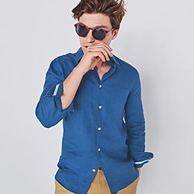 Man wearing blue linen shirt