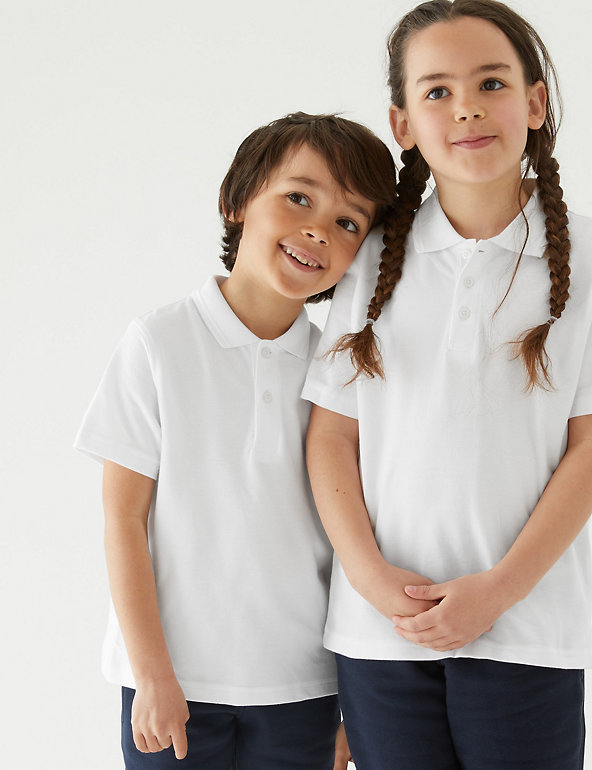 Age 8-9 years Girls Marks and Spencer school Cotton Polo t-shirt