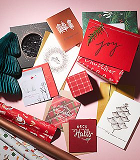 Selection of Christmas cards and wrapping paper