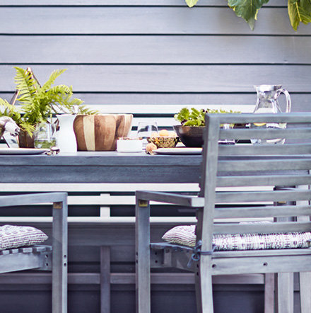 Outdoor table and garden chairs