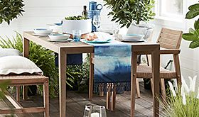 Wooden garden table and garden chairs
