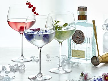 Garnished cocktails in gin glasses