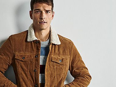Man wearing tan brown cord jacket