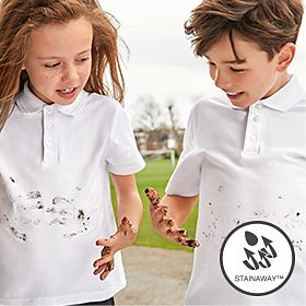 Kids wearing M&S school polos with stain resistance technlogy