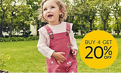 Buy 4 save 20% across kidswear and babywear