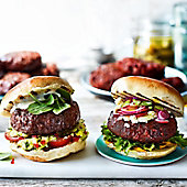 Our Best Ever burgers in buns with fresh salad