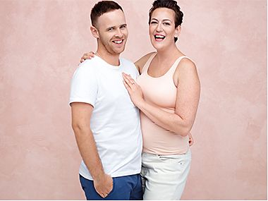 Rebecca and Tom taking part in the M&S Breast Cancer Now campaign