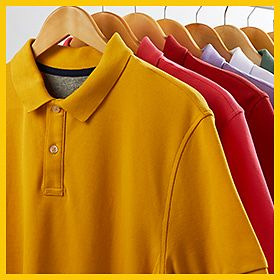 A rail of colourful polo shirts