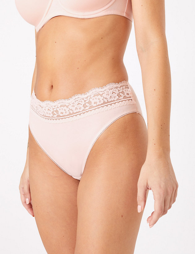 5 Pack Cotton & Lace High Leg Knickers