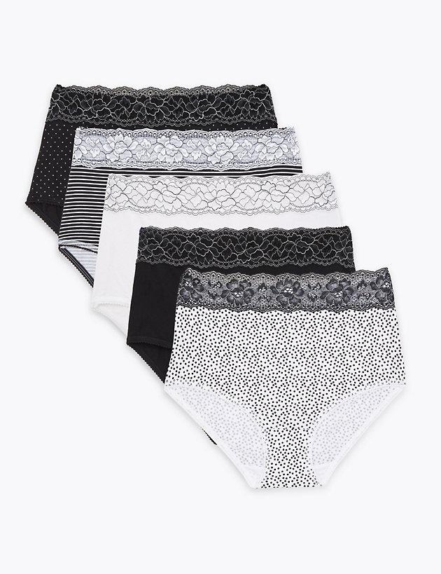 M /& S Ladies 4 Pack 100/% Pure Cotton Midis Briefs Knickers Underwear Size 22