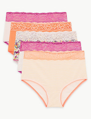 3db022a945f 5 Pack Cotton Rich Lace Full Briefs | M&S Collection | M&S
